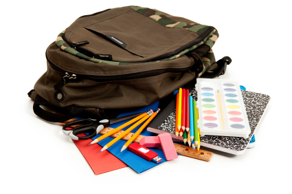 Backpacks full of supplies